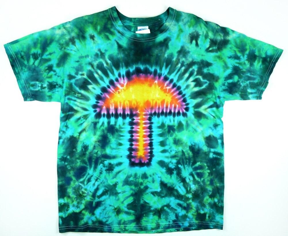 Mushroom Tie Dye T Shirt Adult Green Eco Friendly Dyeing