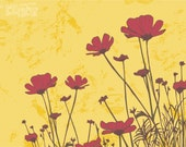 Flowers Painting - BUTTERCUP - 24/18 red on yellow spring. wall decor illustration