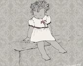 Nursery Art - INFANT - Print on Canvas - 14/14 baby girl cream dark grey on vintage light grey pattern.