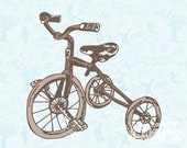 BIKE - 16/20 brown on sky blue vintage printed canvas illustration