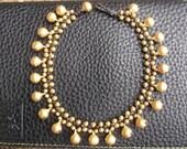 jingle bells gold brass beads bracelet Anklet. On Summer jinglebell collection