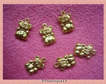 15 pcs bear gold brass pendant 10 mm.DIY.
