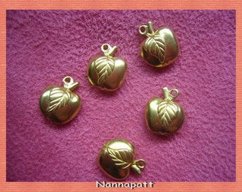 15 pcs apple gold brass pendant 10 mm./i love DIY/Handmade jewelry project /wholesale /supplies /creator/summer 2016/hobby weekend /favorite