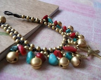 Thai handmade bracelet turquoise stone-red coral/cute brass pendants for her on summer day/handmade bracelet/Hawaii bracelet/Hippie Jewelry