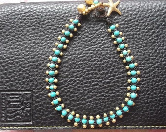 Gold brass beads_turquoise ball stone Anklet for my lovely on Summer gift / back to school /Hawaii collection 2017/Sea/sand/sun/bikini on th