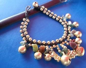 Thai handmade bracelet jade stone/heart brass pendant on summer collection/summer bracelet/jade bracelet/stone bracelet/gypsy/hippie/India