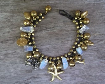 Pretty  Thai Handmade Jingle bells Wax Rope Bracelet / summer bracelet
