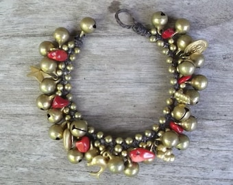 Thailand handmade bracelet Red Coral jingle bells brass on summer/thanksgiving gift idea/christmas bracelet collection/new year 2017/holiday