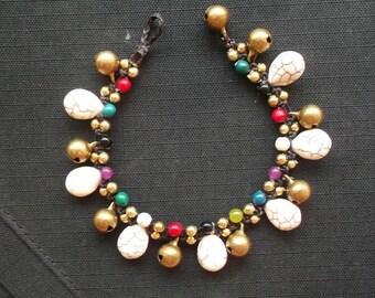 Jingle bells gold brass bracelet .Summer bracelet