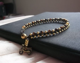 Halloween accessories /Thailand Anklet/Handmade Anklet/gold anklet/brass anklet/tiger's eye Anklet/lucky stone anklet/autumn anklet/summer