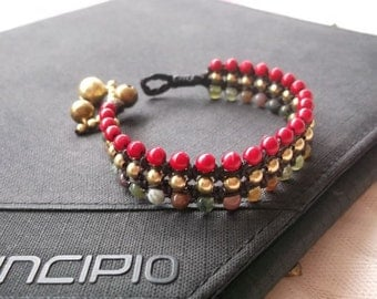 Charming gold brass beaded wrap bracelet red coral & Jade stone on Summer collection 2017