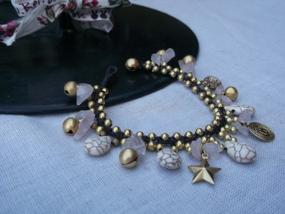 Thai handmade bracelet rose Quartz stone and coin brass pendant/rose quartz bracelet/pink bracelet/bells bracelet/star bracelet/coin bracele