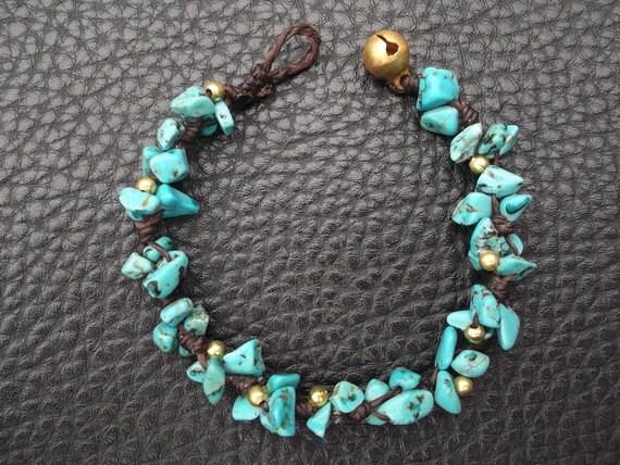Thai  Handmade Blue Turquoise Bracelet.Mother's day gift.