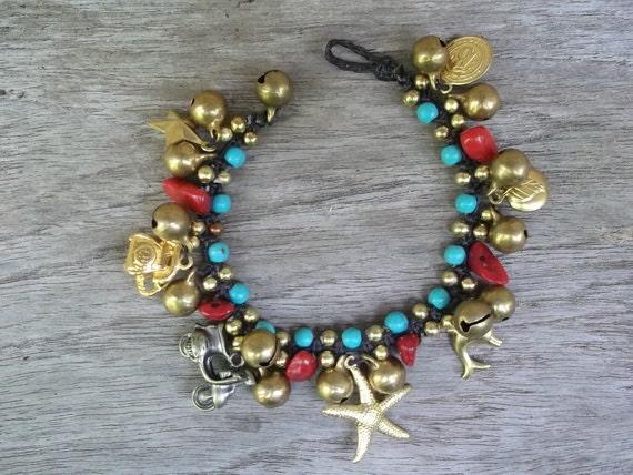 Thailand handmade bracelet Red Coral& Blue turquoise balls jingle bells brass on Summer