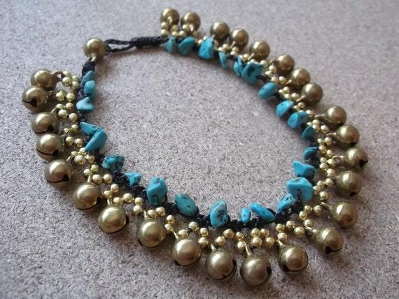 Bracelet anklet/turquoise/Gold brass beads/jingle bells/Thailand/summer  gift/Happy birthday gift for her/Heart anklet/absolutely anklet/lov