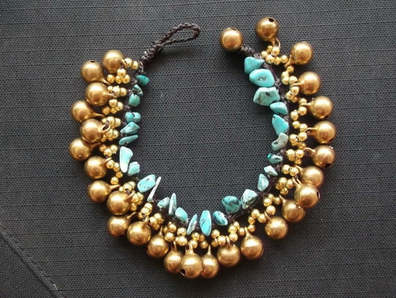 Turquoise jingle bells lovely fashion jewelry handmade from Thailand summer collection/turquoise/bells bracelet/Gypsy/Bohemian/Yoga/Natural