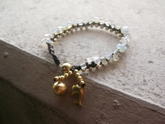 New year for her/valentines gift/White beads  nugget shape wax rope brass bracelet on summer gift