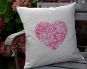 50% SALE - Screen Printed Shocking Pink Heart Cushion Cover