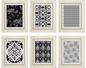 Set of Six Modern Black/White Wall Art- Print Set - Home Decor (Unframed)
