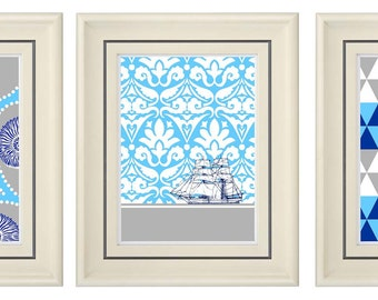 Set of Three Modern Blue Art Print (Unframed)