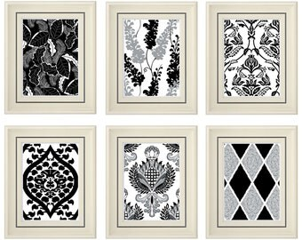 Set of Six Modern Black/White Art Print (Unframed)