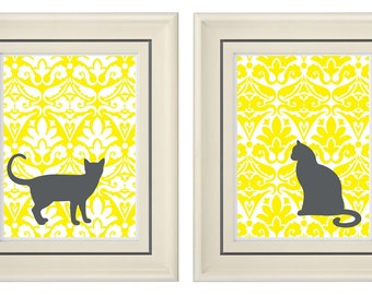 Set of Two Modern Yellow/Gray Art Print (Unframed)