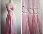 Vintage Ma Cherie Pink lace Slip Dress. Size S/M