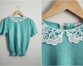 Vintage Herald House Mint Peter pan Collar Sweater Top. Size S/M
