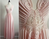 Vintage 70's Vandemere Soft Pink Slip Dress, Full skirt. Size M/L