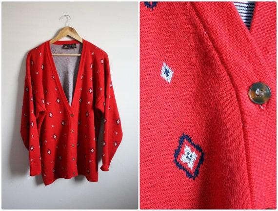 Vintage 80s Liz Claiborne Oversize Classic Cardigan Sweater. M/L
