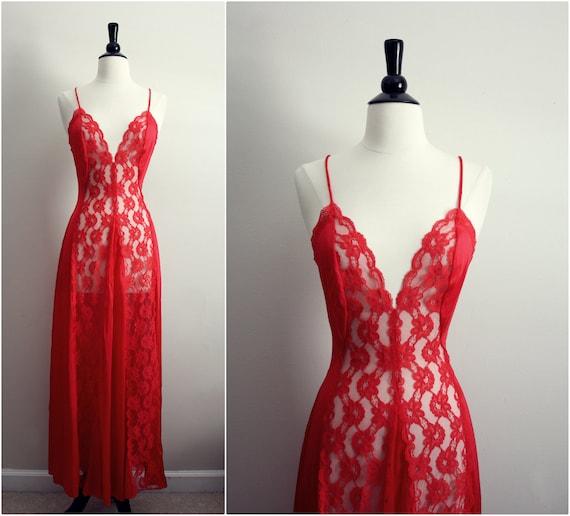 Vintage 70s Val Mode Lipstick Red Slip Dress. Size S/M