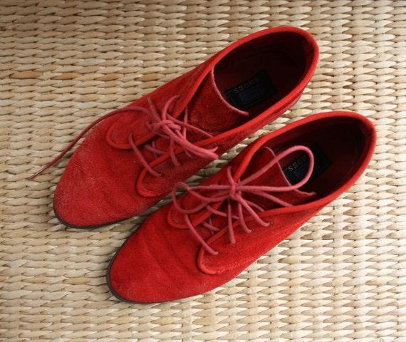 Vintage 80s Keds Red Suede Ankle Boots. Size US 8/ EUR 39/ UK 5.5