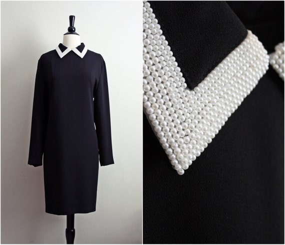 Vintage White Pearls Collared Black Dress. Size Large