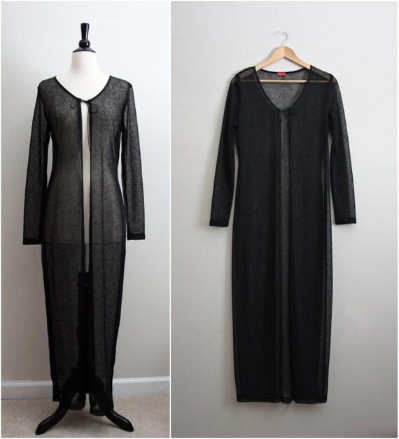 Vintage Bohemian Black Sheer Maxi vest /cardi. One size