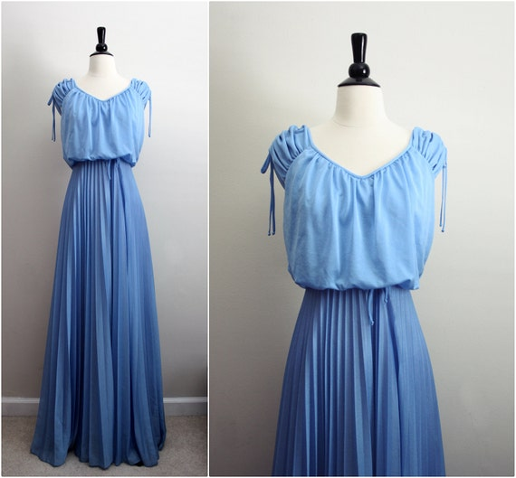 "Vintage 70s ""She loves a party"" Pleated Maxi Dress/ Bridesmaids Wedding Dress Gown. Size S/M"