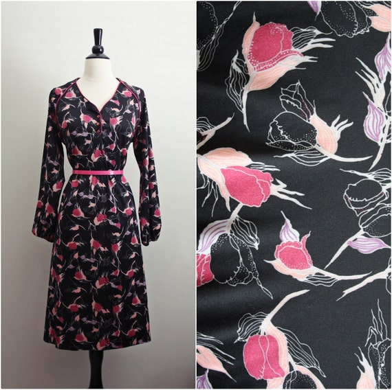 Vintage Black and Pink Lilies Dress. Size Large