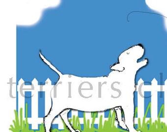Barking Bull Terrier Picket Fence Art Print