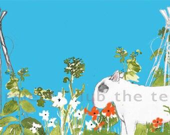 """Bull Terrier in Garden Print  """"Herbal Grazing"""""""