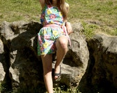 80s 2 piece set floral shorts and matching blouse M / medium