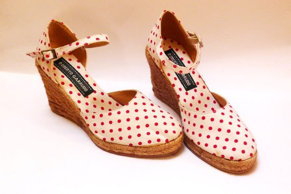 90 white red dotted espadrilles rope soled mules wedges sandals Eur 36 / US 5