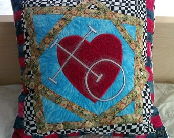 Pillow Cover, throw pillow cover,XO, Valentine, Heart applique, Free Spirit Heart, Button Closure, Quilted Pillow, Patchwork pillow, Novelty