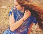 """Made to order Designer crochet lace tanktop """"Water-nymph's nets"""" in royal blue saphire cotton"""