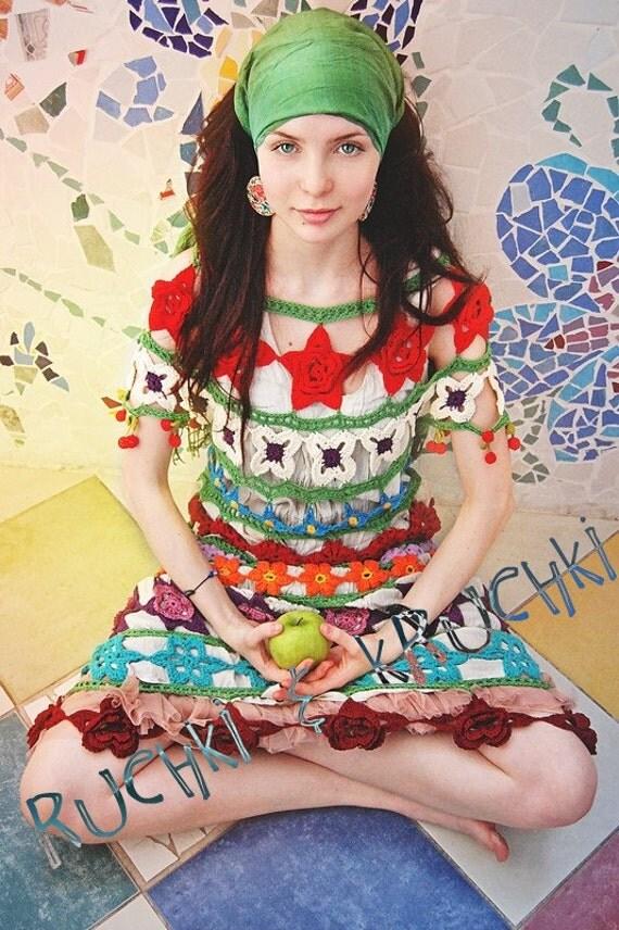"""Amazing handmade crochet lace flower dress """"Floral fairy tale"""" in mercerized 100% cotton"""