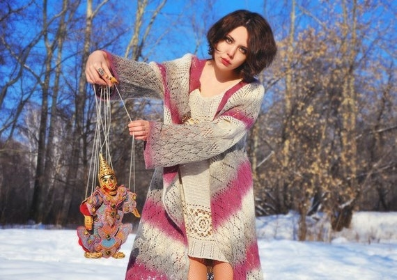 """Knitted lace boho chic gypsy style wool jacket """"Bilberry icecream"""""""