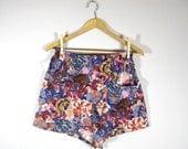 POCKET SHORTS/ high waist handmade shorts, elastic waist, pockets, floral print, wool blend, lavender, blue, purple, brown, red, small large