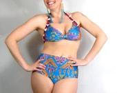 HIGH WAIST BIKINI/ full coverage bottom, natural waist, elastic, swim, cobalt, blue, tribal, geometric, zig zag, native, triangle, arrow