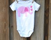 Baby Girl Onesie - Appliqué Pink Elephant