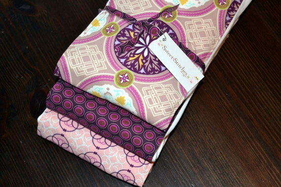 Girl Burp Cloth Set - Girl Burp Cloths Purple - Sweet Violet - Premium 6 ply