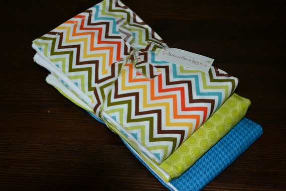 Baby Burp Cloth Set - Boy Burp Cloths - Sweet Chevron - Blue Green Orange Brown - Premium 6 ply