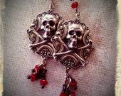 Goth Skull and Crossbone Earrings -  Steampunk Halloween Dark Gothic Wedding Jewelry